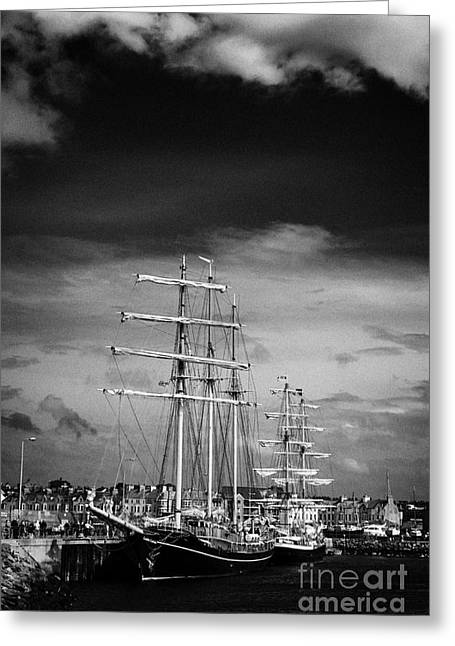 Tall Ships Greeting Cards - Tall Ships Tied Up On The Eisenhower Pier Bangor Northern Ireland Greeting Card by Joe Fox