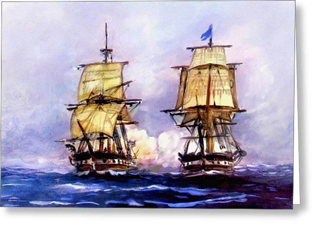 New Britain Digital Art Greeting Cards - Tall Ships USS Essex Captures HMS Alert  Greeting Card by  Bob and Nadine Johnston