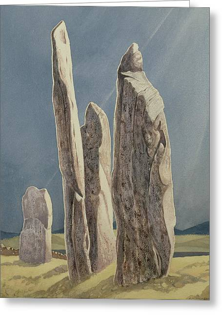 Historic England Paintings Greeting Cards - Tall Stones of Callanish Isle of Lewis Greeting Card by Evangeline Dickson