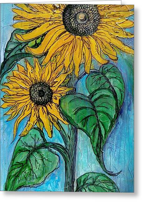 Santa Fe Mixed Media Greeting Cards - Tall Sunflowers Greeting Card by Marilyn  Sahs