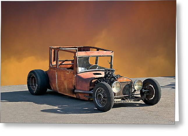 Tall T Rat Rod Greeting Card by Dave Koontz