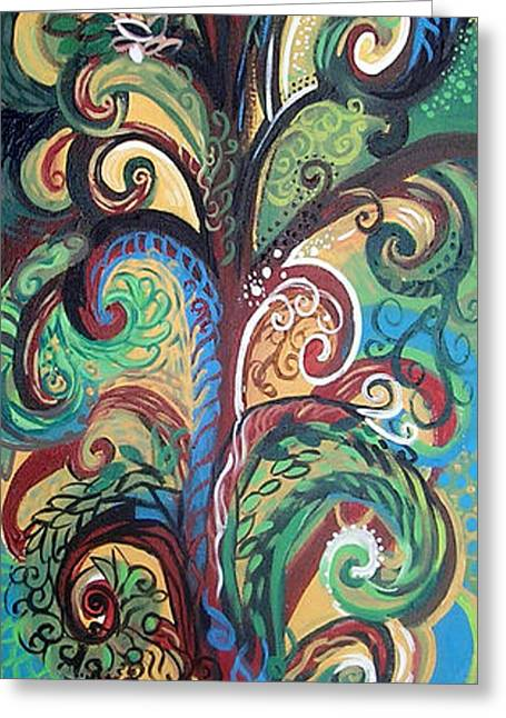 Print On Canvas Greeting Cards - Tall Tree Winding Greeting Card by Genevieve Esson