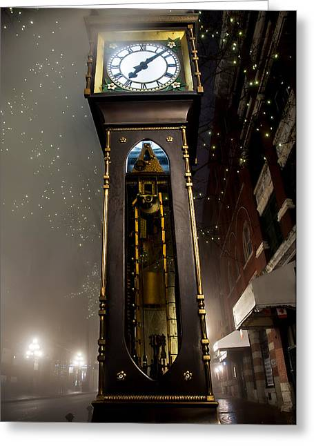 Vancouver Night Scene Greeting Cards - Tall Vancouver Steam Clock Greeting Card by James Wheeler
