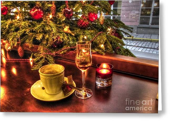 Cafe Pyrography Greeting Cards - Tallin Cafe Greeting Card by Yury Bashkin