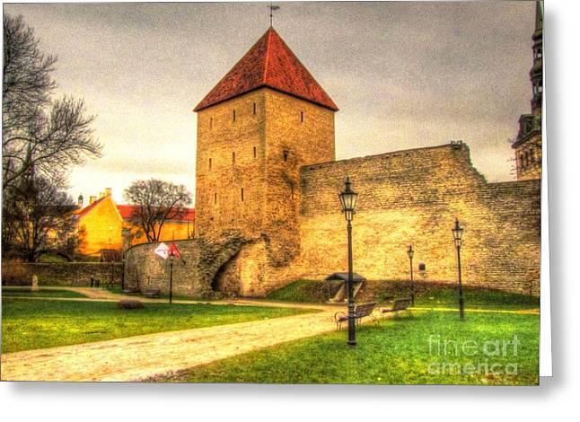 Tallinn Pyrography Greeting Cards - Tallinn Estonia castle Greeting Card by Yury Bashkin