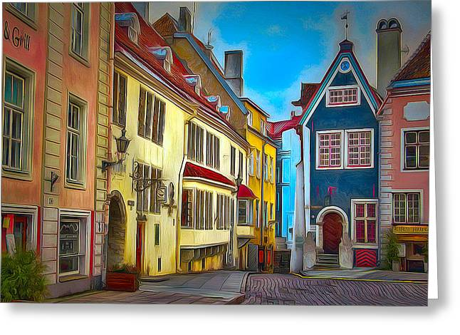 Tallinn Digital Greeting Cards - Tallinn old town 2 Greeting Card by Yury Malkov