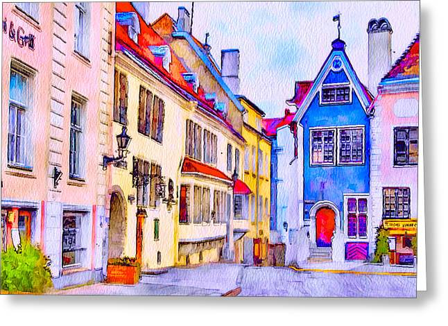 Tallinn Digital Greeting Cards - Tallinn old town Greeting Card by Yury Malkov