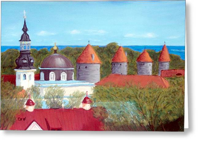 Skylines Pastels Greeting Cards - Tallinn Skyline Greeting Card by David Henderson