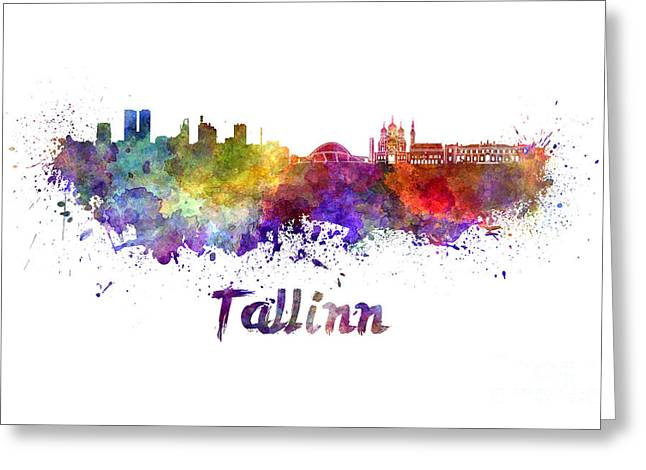 Tallinn Greeting Cards - Tallinn skyline in watercolor Greeting Card by Pablo Romero