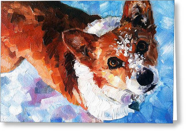 Dogs In Snow. Greeting Cards - Tally in the Snow Greeting Card by Kristy Tracy