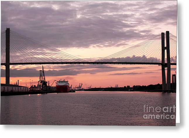 Chatham County Greeting Cards - Talmadge Memorial Bridge Greeting Card by John Rizzuto