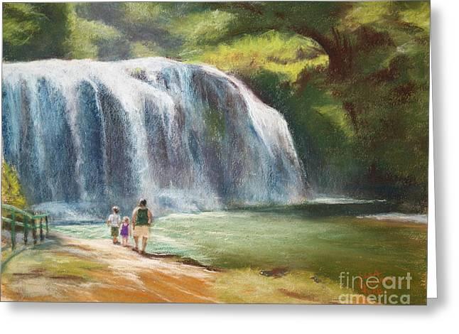 Waterfall Pastels Greeting Cards - Talofofo Falls Greeting Card by Lisa Pope