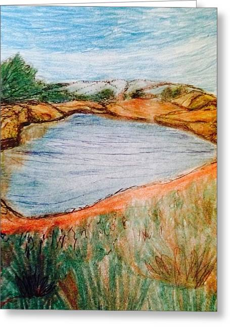Reflection Of Rocks In Water Greeting Cards - Talukas Lake  Greeting Card by Christine Degyansky