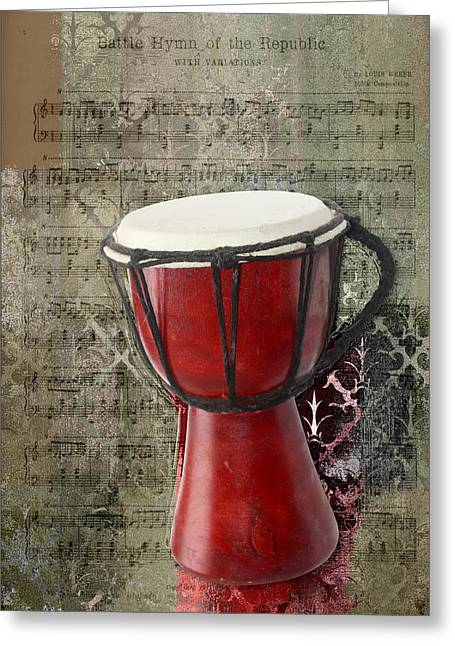 Music Notes Greeting Cards - Tam Tam Djembe - s02a Greeting Card by Variance Collections