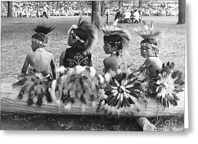 Naacp Greeting Cards - Tama Pow Wow 1950s Children Greeting Card by Joan Liffring-Zug Bourret