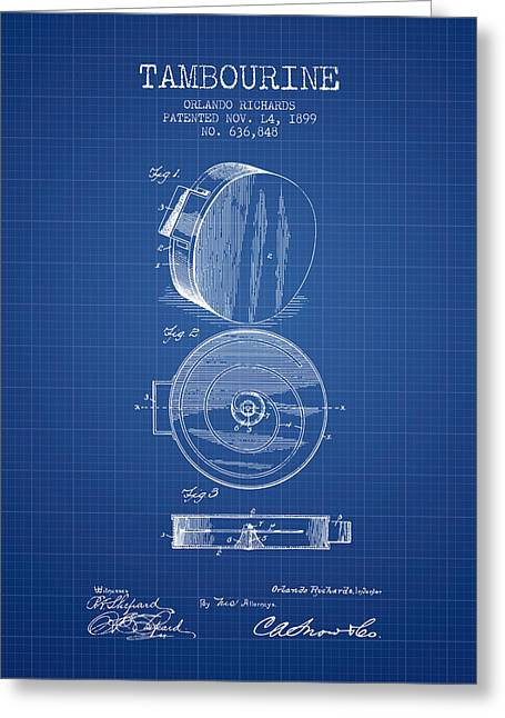 Tambourine Greeting Cards - Tambourine Musical Instrument Patent from 1899 - Blueprint Greeting Card by Aged Pixel