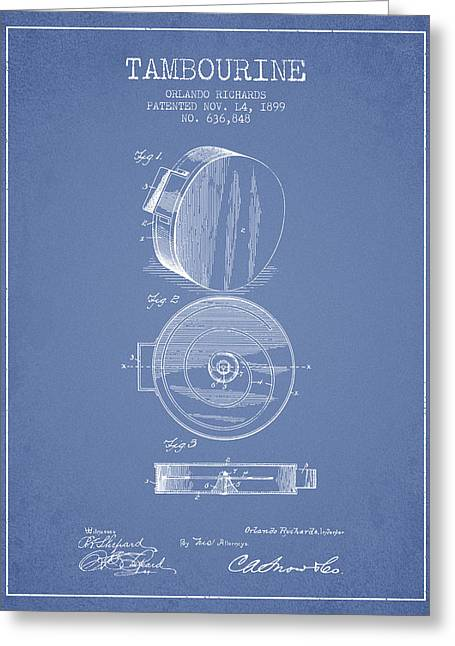Tambourine Greeting Cards - Tambourine Musical Instrument Patent from 1899 - Light Blue Greeting Card by Aged Pixel