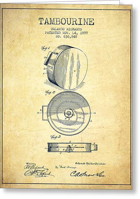 Tambourine Greeting Cards - Tambourine Musical Instrument Patent from 1899 - Vintage Greeting Card by Aged Pixel