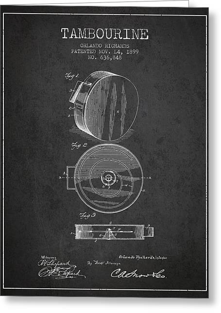 Tambourine Greeting Cards - Tambourine Musical Instrument Patent from 1899 - Charcoal Greeting Card by Aged Pixel
