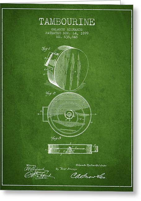 Tambourine Greeting Cards - Tambourine Musical Instrument Patent from 1899 - Green Greeting Card by Aged Pixel