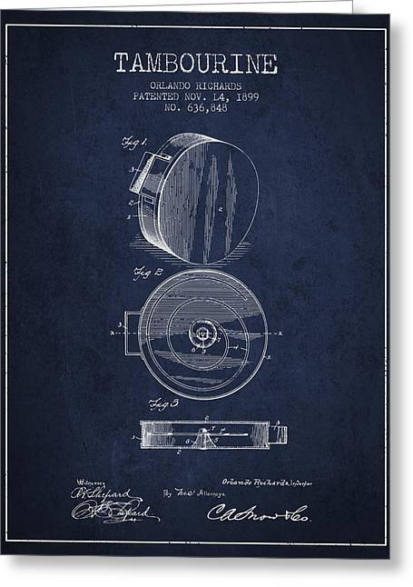 Tambourine Greeting Cards - Tambourine Musical Instrument Patent from 1899 - navy Blue Greeting Card by Aged Pixel