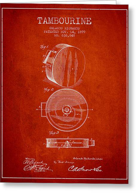 Tambourine Greeting Cards - Tambourine Musical Instrument Patent from 1899 - Red Greeting Card by Aged Pixel