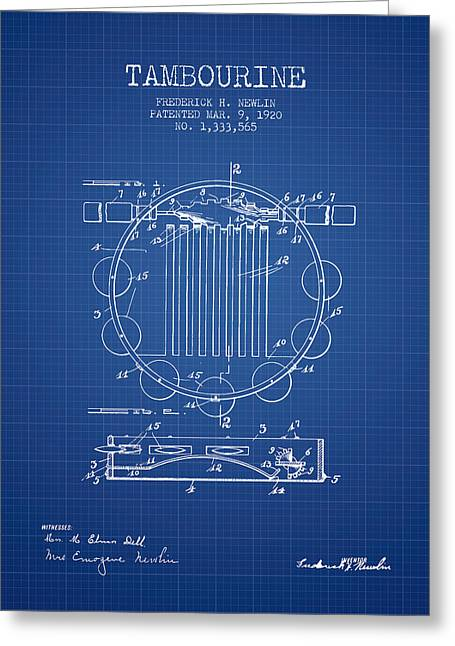 Tambourine Greeting Cards - Tambourine Musical Instrument Patent from 1920 - Blueprint Greeting Card by Aged Pixel