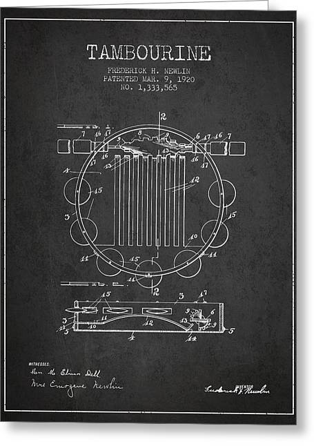 Tambourine Greeting Cards - Tambourine Musical Instrument Patent from 1920 - Charcoal Greeting Card by Aged Pixel