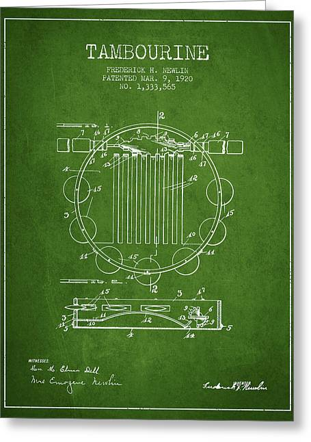 Tambourine Greeting Cards - Tambourine Musical Instrument Patent from 1920 - Green Greeting Card by Aged Pixel