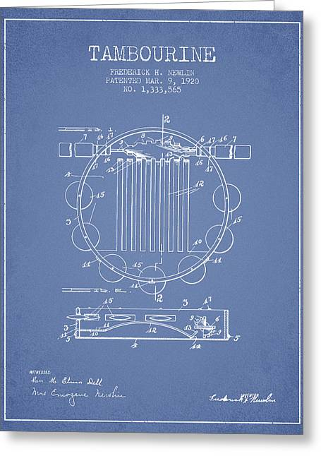 Tambourine Greeting Cards - Tambourine Musical Instrument Patent from 1920 - Light Blue Greeting Card by Aged Pixel