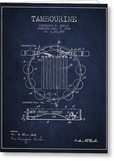 Tambourine Greeting Cards - Tambourine Musical Instrument Patent from 1920 - Navy Blue Greeting Card by Aged Pixel