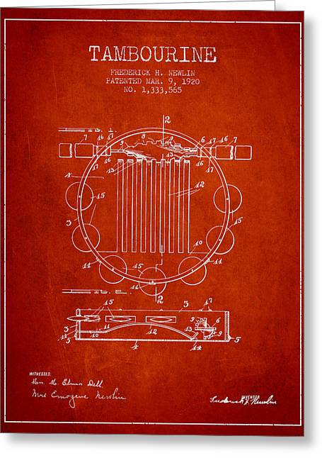 Tambourine Greeting Cards - Tambourine Musical Instrument Patent from 1920 - Red Greeting Card by Aged Pixel
