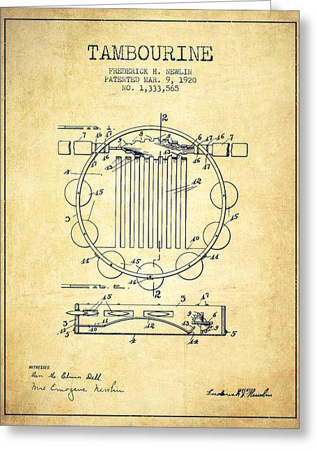 Tambourine Greeting Cards - Tambourine Musical Instrument Patent from 1920 - Vintage Greeting Card by Aged Pixel