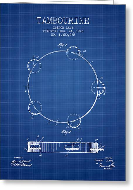 Tambourine Patent From 1920 - Blueprint Greeting Card by Aged Pixel