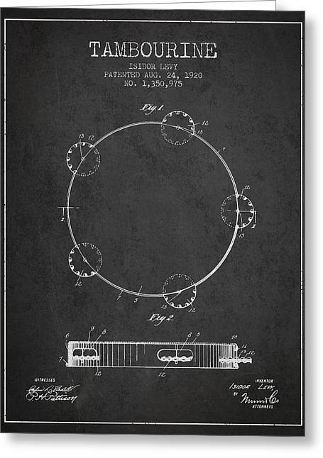 Tambourine Greeting Cards - Tambourine Patent from 1920 - Dark Greeting Card by Aged Pixel