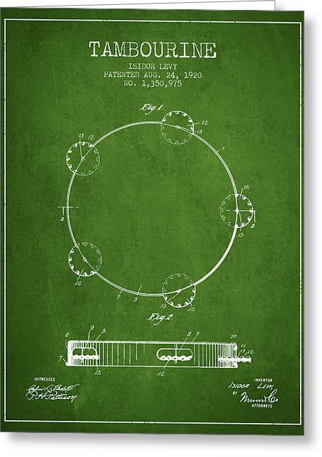 Tambourine Greeting Cards - Tambourine Patent from 1920 - Green Greeting Card by Aged Pixel
