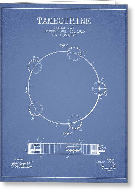 Tambourine Greeting Cards - Tambourine Patent from 1920 - Light Blue Greeting Card by Aged Pixel