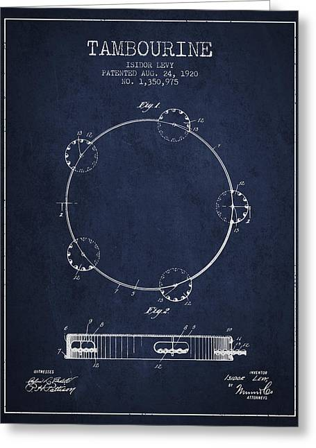 Tambourine Greeting Cards - Tambourine Patent from 1920 - Navy Blue Greeting Card by Aged Pixel