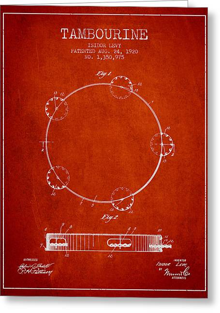Tambourine Greeting Cards - Tambourine Patent from 1920 - Red Greeting Card by Aged Pixel