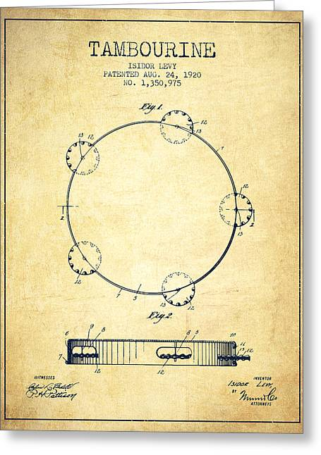 Tambourine Greeting Cards - Tambourine Patent from 1920 - Vintage Greeting Card by Aged Pixel