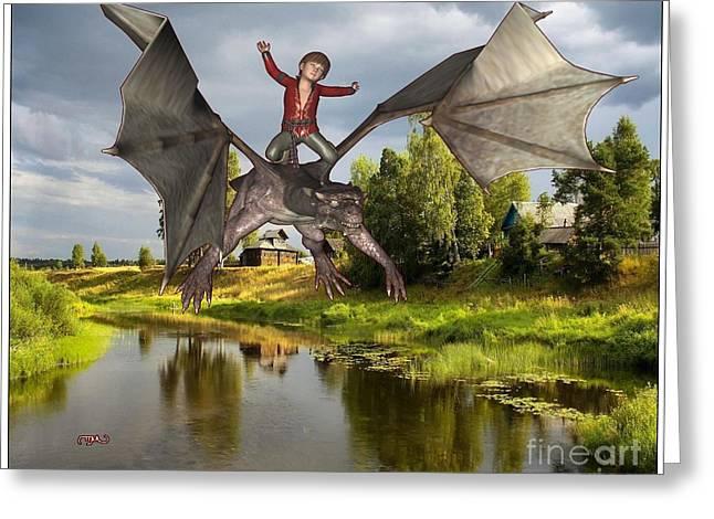 Parable Digital Art Greeting Cards - Tamer of dragons  TOD1 Greeting Card by Pemaro