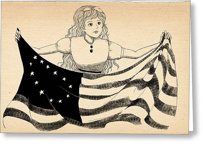 Declaration Of Independence Drawings Greeting Cards - Tammy and the Flag Greeting Card by Reynold Jay
