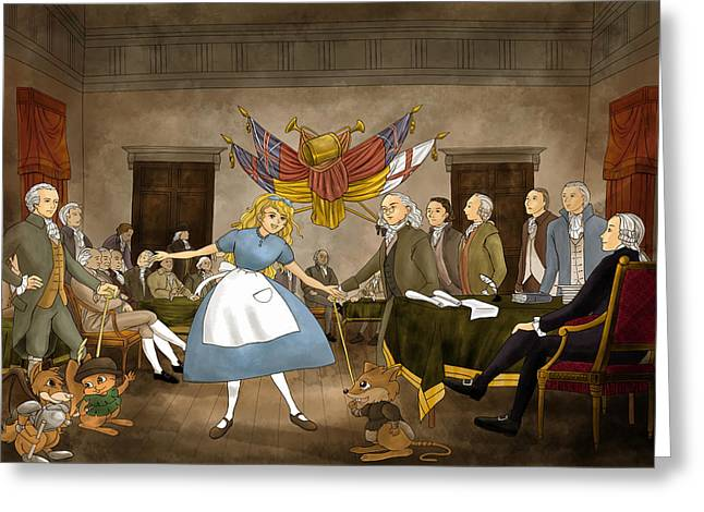 Declaration Of Independence Paintings Greeting Cards - Tammy in Independence Hall Greeting Card by Reynold Jay