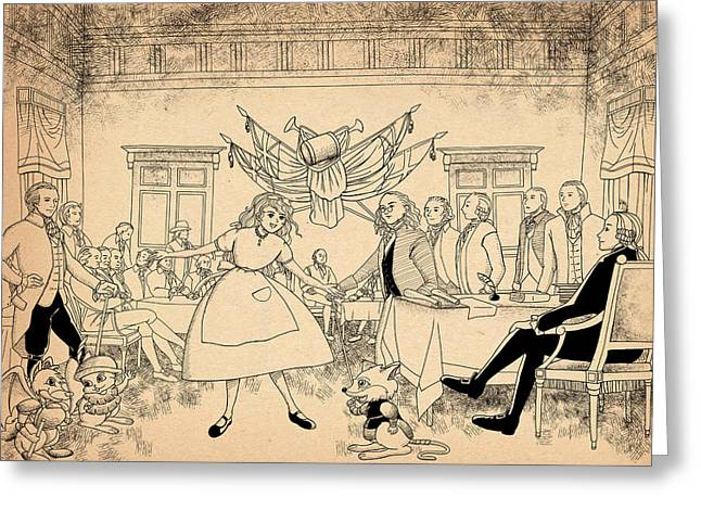 Declaration Of Independence Drawings Greeting Cards - Tammy in Indpendence Hall Greeting Card by Reynold Jay