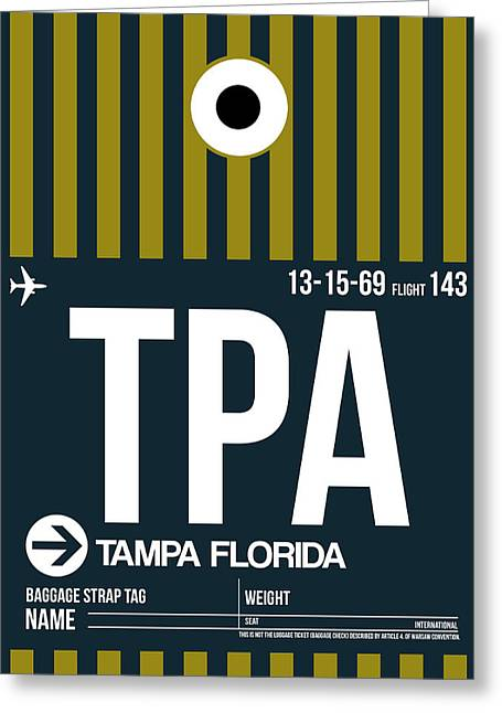 Town Mixed Media Greeting Cards - Tampa Airport Poster 1 Greeting Card by Naxart Studio