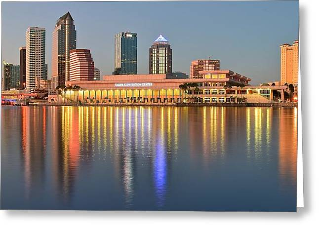 Reflecting Sunset Greeting Cards - Tampa at Sunset Greeting Card by Frozen in Time Fine Art Photography