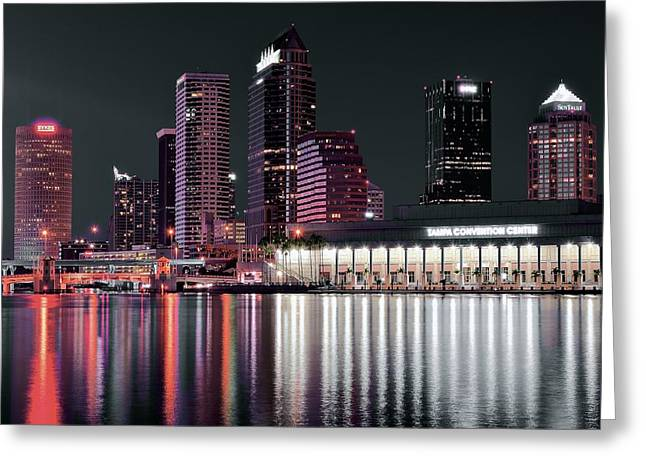 Buccaneer Greeting Cards - Tampa Bay Black Night Greeting Card by Frozen in Time Fine Art Photography