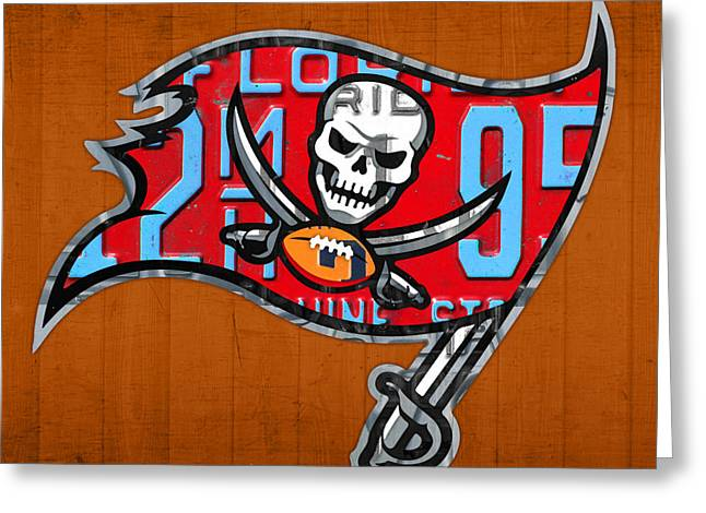 Tampa Bay Greeting Cards - Tampa Bay Buccaneers Football Team Retro Logo Florida License Plate Art Greeting Card by Design Turnpike
