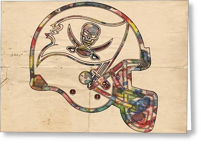 Tampa Bay Buccaneers Helmet Art Greeting Card by Florian Rodarte