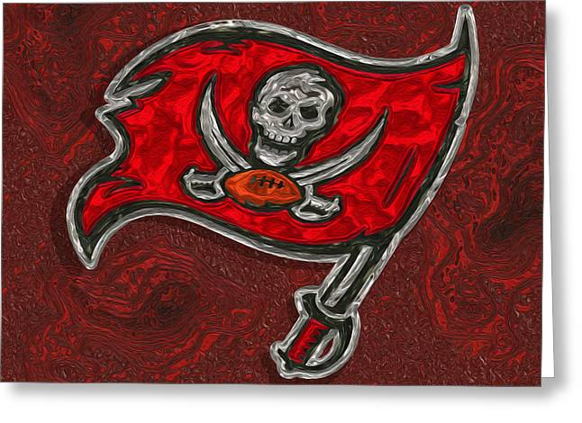 St Petersburg Florida Greeting Cards - Tampa Bay Buccaneers Greeting Card by Jack Zulli